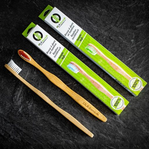 Brosses à dents en bambou avec emballage recyclable