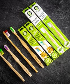 family pack bamboo toothbrushes with recyclable packaging