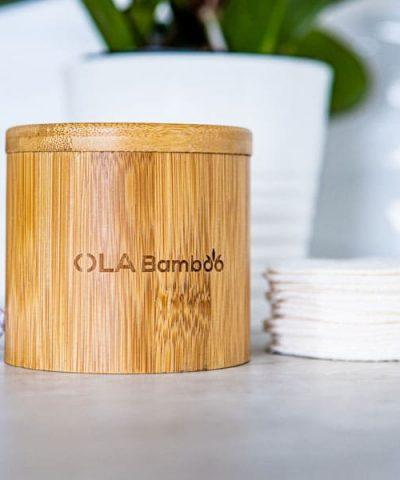reusable makeup pads, bamboo storage box