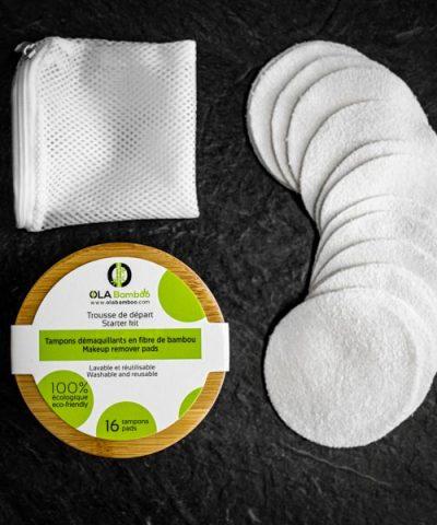 reusable makeup pads, wash bag, bamboo storage box