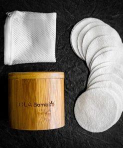 Tampons démaquillants réutilisables, sac pour le lavage, et boîtier en bambou