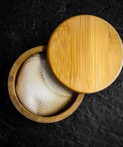 makeup pads in bamboo storage box