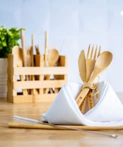 Reusable wooden utensils cutlery set