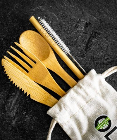Portable cutlery set with case