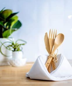 Bamboo spoon, fork &knife with travel bag