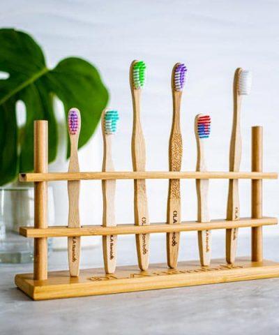 bamboo toothbrush holder for family