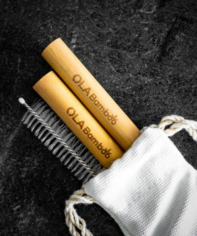 Bamboo Smoothie Straws in cotton case