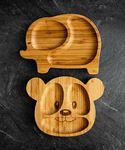 Elephant and teddy bear bamboo plates for babies