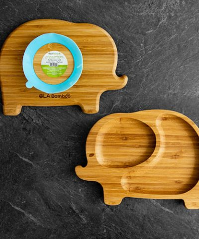 elephant bamboo plate for baby with blue suction base