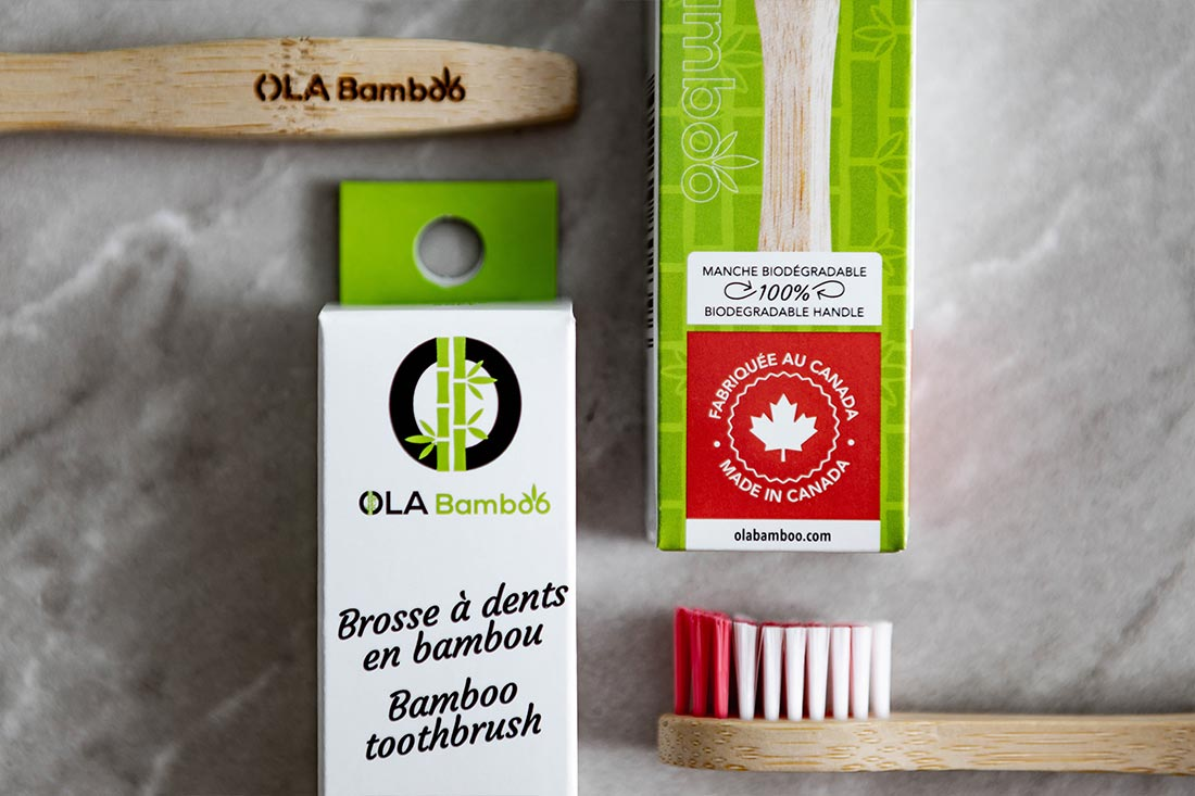 Bamboo toothbrush made in Canada