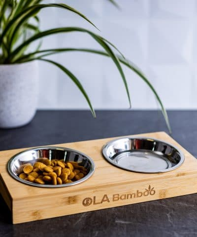 Pet bowls with Stand made of bamboo