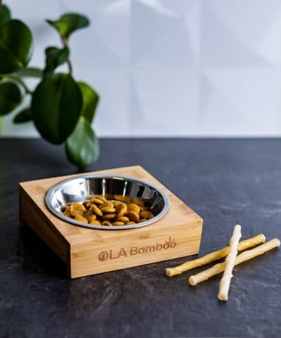 Single Pet bowl with bamboo stand